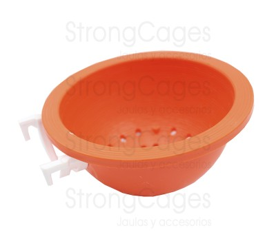 Canary-nest pan, with hook-on for cage fronts
