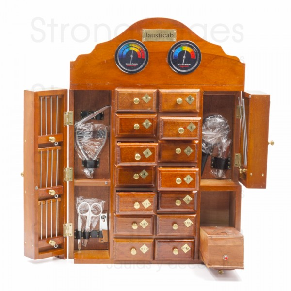 Handcrafted wooden cabinet with 14 drawers and accessories.