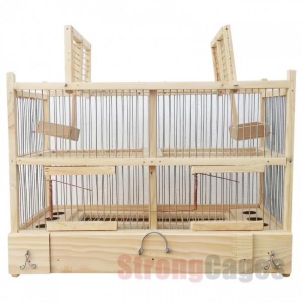 Jaula trampa madera con doble reclamo